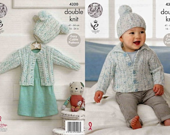 e50aedecd0fe King Cole Knitting Pattern 4202Easy Cardigan Beret