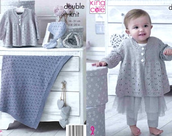 King Cole Baby Double Knitting Pattern Jacket Cardigan Matinee Coat /& Hat 4886