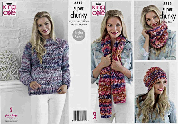 KNITTING PATTERN Ladies EASY KNIT Hat Scarf Mittens Cowl Chunky King Cole 5035