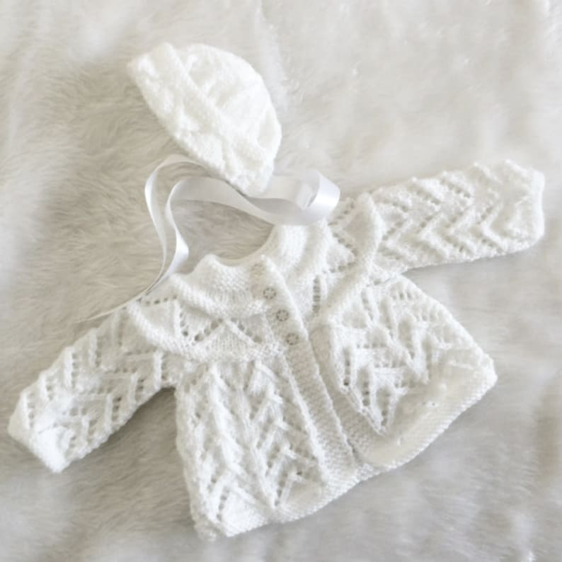 fe785291850e RTSHand-knitted Baby Matinee Coat   BonnetWhite0-3 months