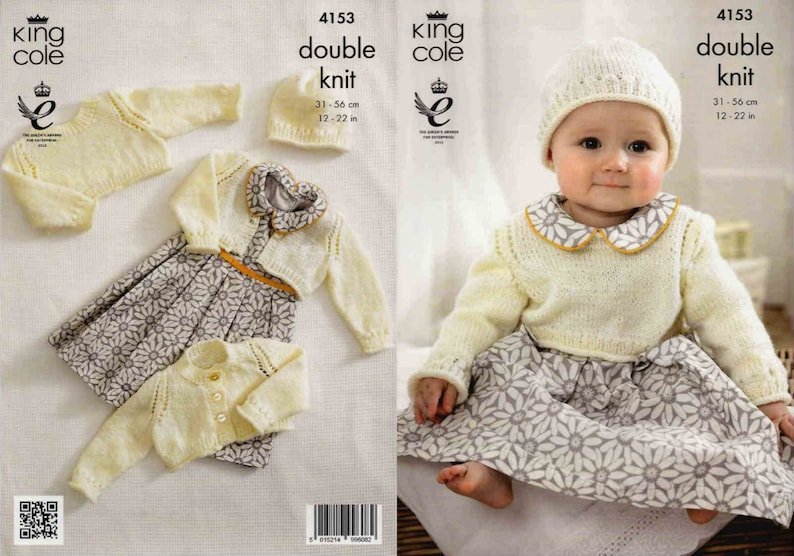 King Cole Double Knitting Pattern Baby Waistcoat Long Short Sleeve Cardigan 4394