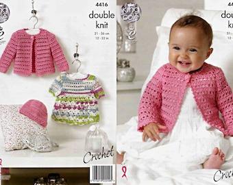 """King Cole Crochet Pattern 4416~Dress, Cardigan & Hat~DK~12-22"""""""
