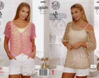 """King Cole Crochet Pattern 4495~Mesh Tunic Top and Cardigan~Opium~32-46"""""""