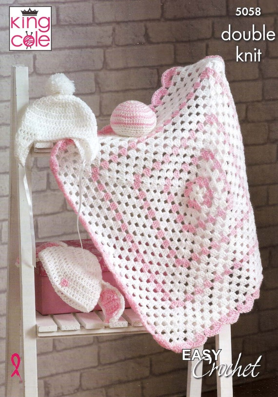King Cole Crochet Pattern 5058easy Blanket Hat With Bunny
