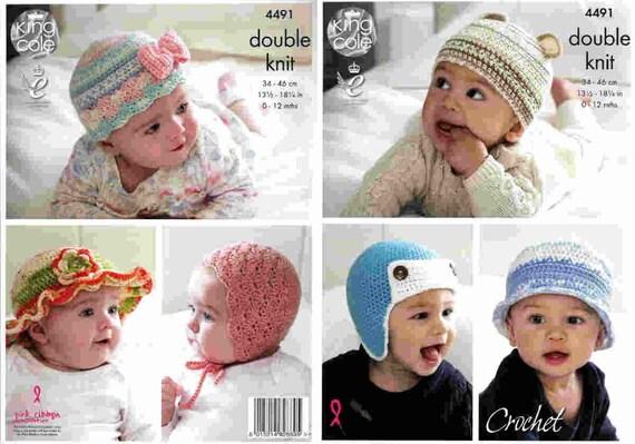 King Cole Crochet Pattern 4491hats Helmet Bonnetdk0 12 Etsy