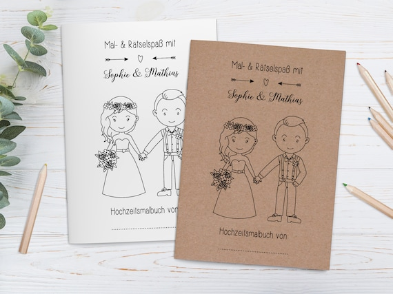 Personalised Colouring Books for Children in Set-Guest gift Wedding  coloring Book Guestbook with Questions Wedding Coloring Books Vintage brown