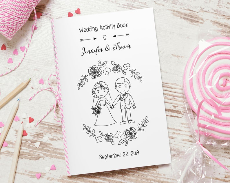 Personalized Wedding Activity Book  Printable Download  image 0