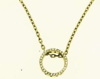 Eternal circle Diamond gold Pendant necklace TCW 0.15 18kt white, rose or yellow gold women