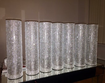 "Rhinestone Vase Centerpiece 16"" (Set of 6) - CLARA"