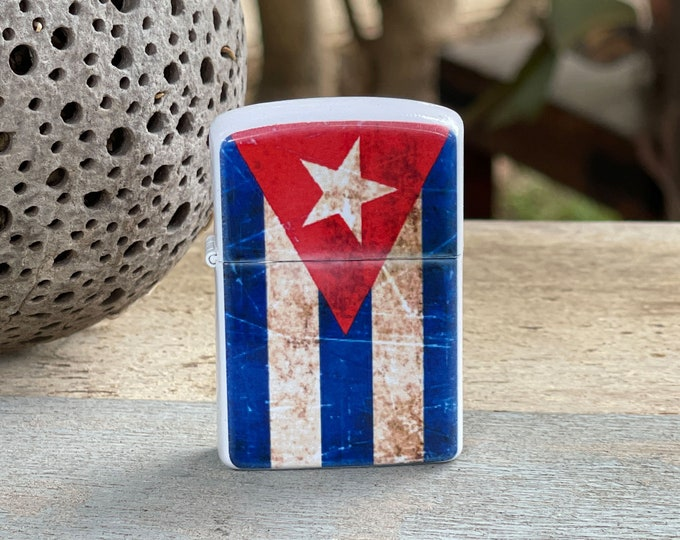 Featured listing image: Cuban Flag flip lighter, Gift for Him, Groomsmen, Bachelors, Fathers Day