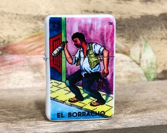 El Borracho Loteria flip lighter