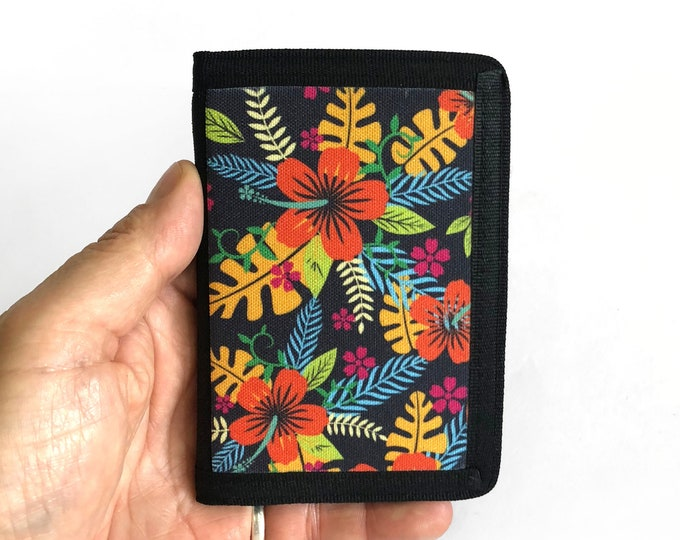 Canvas black Wallet with hibiscus flowers Hawaii Sublimation Gift for Friend