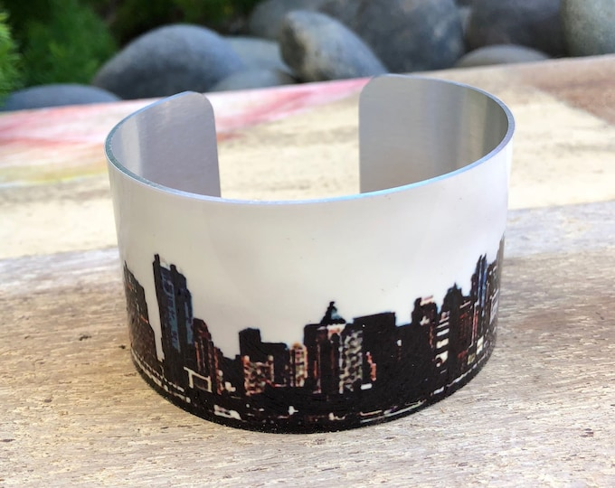 Aluminum Cuff Bracelet New York Skyline gift for women