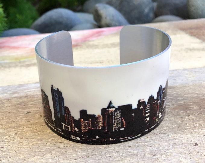 Aluminum Cuff Bracelet New York Skyline gift for women
