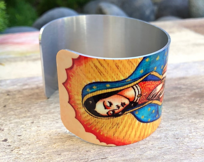 Aluminum Cuff Bracelet with a Virgin Mary Madonna design gift for women