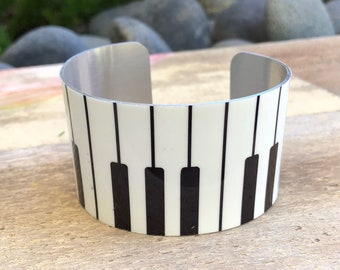Aluminum Cuff Bracelet Piano keys design gift for women, gift for musician