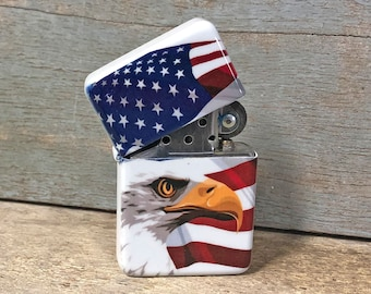 American Eagle USA flip lighter, Gift for Him, Groomsmen, Bachelors, Fathers Day