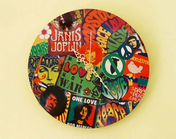 Wall Clock, 60's collage design Sublimation
