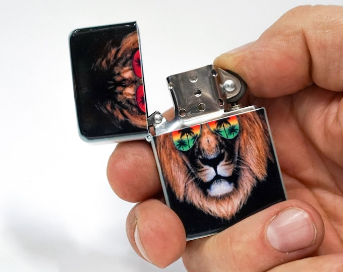 Lion wearing sunglasses sublimated Old school Flip lighter