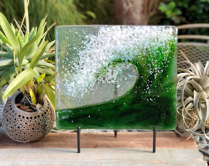 Green wave, fused glass, 3rd anniversary gift, iridized glass, hand made, gift for friend