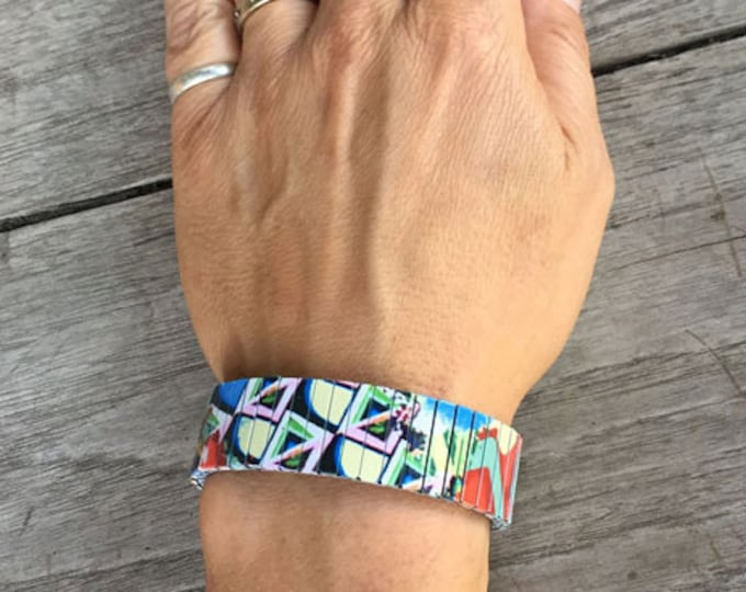 Cubist art bracelet-Cubist  Art-Abstract-Sublimation-Stainless Steel-gift for friend-gift for her-11th anniversary