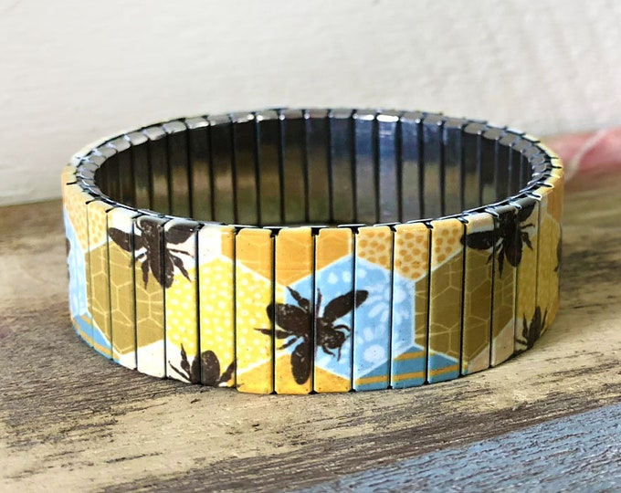 Honey bees stretch bracelet in Stainless steel made from repurposed watch band