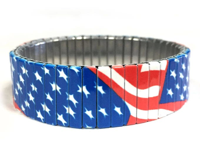 USA FLAG stretch bracelet, Patriotic, USA, Stainless Steel, Repurpose Watch Band, Wrist Band, Sublimation, gift for friend