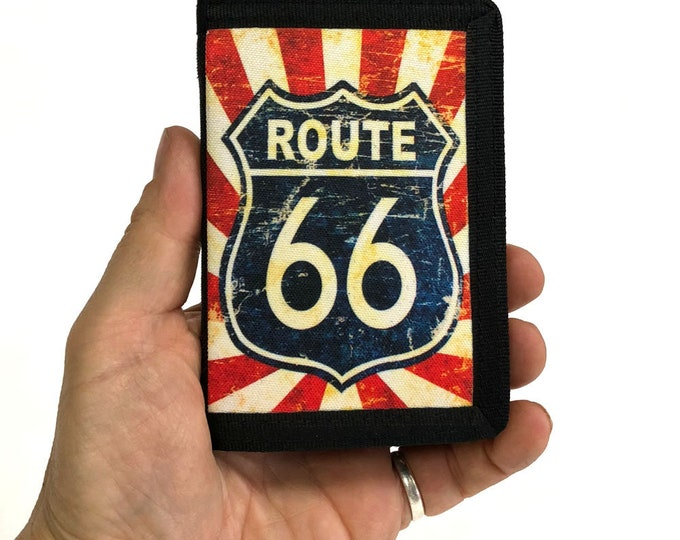Canvas Wallet-Route 66-Americana-Tri fold-Canvas wallet-Sublimation-Gift for Friend