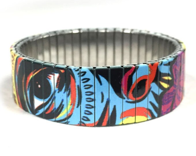 Stretch steel bracelet, Modern Art, Stainless Steel, Repurpose Watch Band, Wrist Band, Sublimation, gift for friends