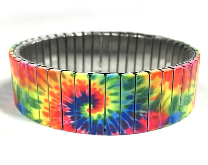 Stretch bracelet TIE DYE, Wrist-Art, Rainbow color, Wrist Band, gift for friends