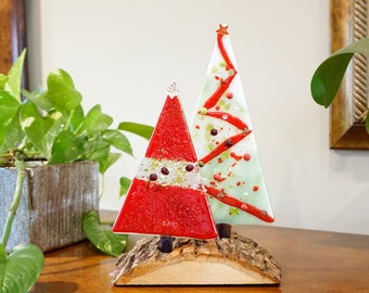 Fused glass Christmas trees on wood