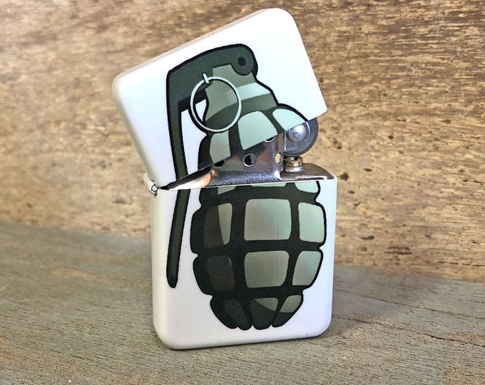 Grenade flip lighter Sublimated Retro Cigar Gift for Him Groomsmen Bachelors Fathers Day