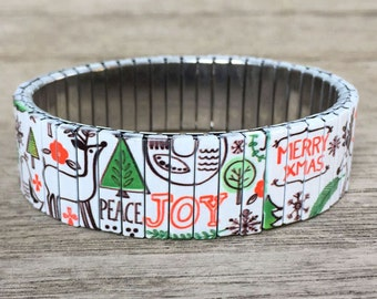 Stretch bracelet PEACE & JOY, Repurpose watch band, Sublimation, Stainless Steel, Wrist Band, gift for the holiday