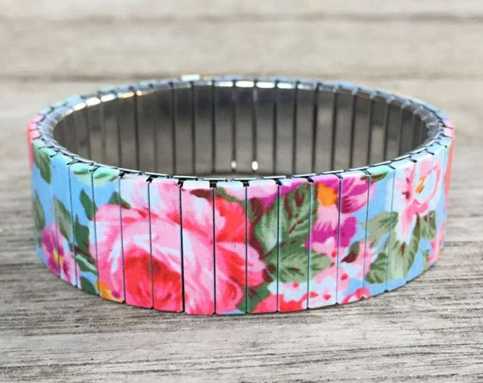 Stretch bracelet-Rose garden-Flowers-Repurpose watch band, Sublimation, Stainless Steel, Wrist Band, gift for friends