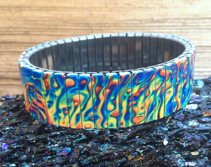 Oil slick stretch bracelet Wrist-Art made of stainless steel repurposed watch band