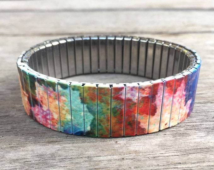 Stretch bracelet-fall-gift for friends-11th anniversary-sublimation-wrist art-stainless steel-bracelet-fall leaves-woodland