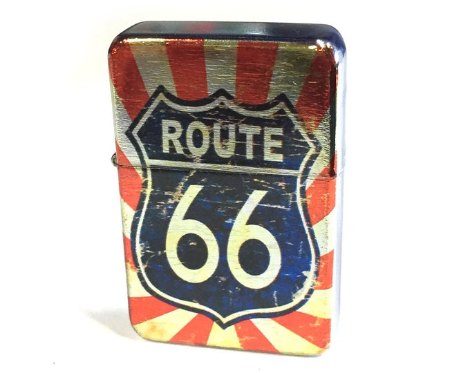 Flip lighter-Route 66-Americana-Sublimated-Retro-Cigar-Gift for Him-Groomsmen-Bachelors-Fathers Day