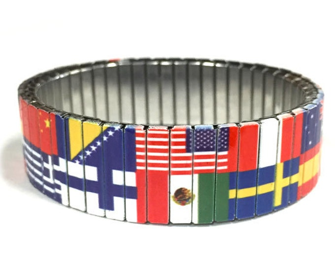 Stretch Bracelet WORLD FLAGS, Patriotic, Stainless Steel, Repurpose Watch Band, Wrist Band, Sublimation, gift for friends