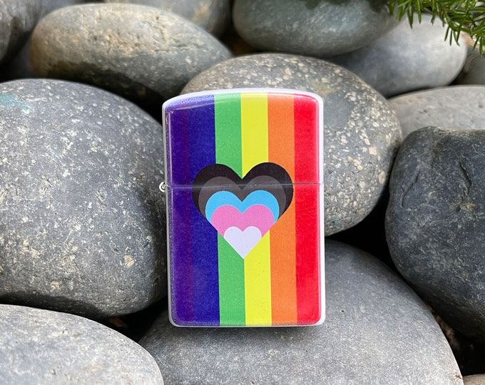 Featured listing image: Flip lighter, progress LGBTQ Pride flag with heart