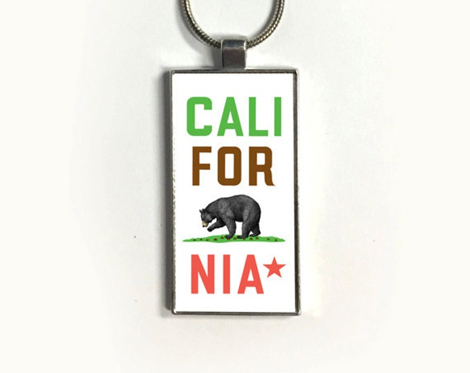 Necklace CALIFORNIA, Pendant, California flag, California Bear, sublimation, gift for friends