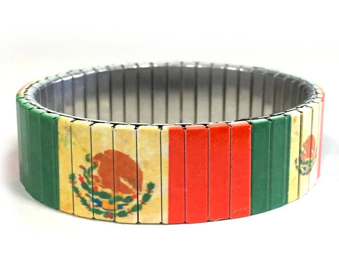 Mexican flag stretch bracelet,Aged, Mexico, Repurpose watch band, Sublimation, Stainless Steel, Wrist Band, gift for friends