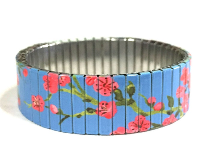 Cherry blossom stretch bracelet on Blue, Stainless Steel, Repurpose Watch Band, Wrist Band, Sublimation, gift for friends