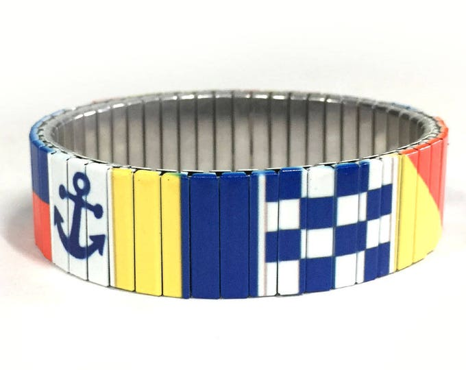 Nautical flag Stretch bracelet Sailing Stainless Steel Wrist Art Sublimation Gift for friends Gift for him Custom bracelet