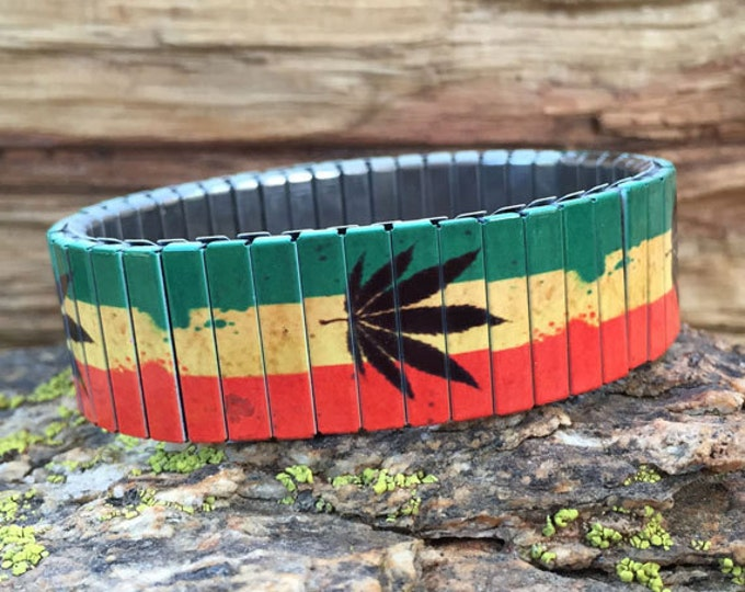 Stretch bracelet RASTAFARIAN, Marijuana, Stainless Steel, Repurpose Watch Band, Wrist Band, Sublimation, Rasta, gift for f