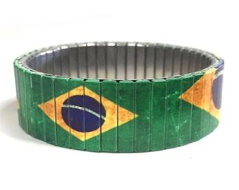Brazil flag stretch bracelet-Brazil, Sublimation, Stainless Steel, gift for friend, gift for him, soccer, Brazil, Futbol