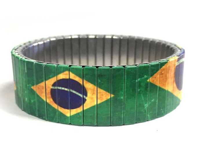 Brazil flag stretch bracelet-Brazil, Sublimation, Stainless Steel, gift for friend, gift for him, soccer, Brazil, Futbol