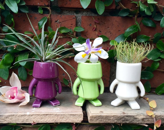 "ROBOT PLANTERS, set of 3, 4"" tall, Decorative, quirky figurine, pottery, Ceramics, gift for friend"