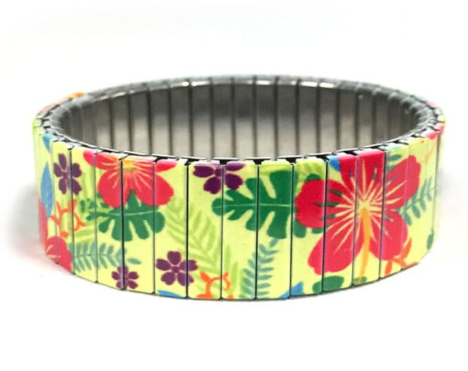 Pink hibiscus stretch bracelet, Hawaii, Repurpose watch band, Sublimation, Stainless Steel, Wrist Band, gift for friend