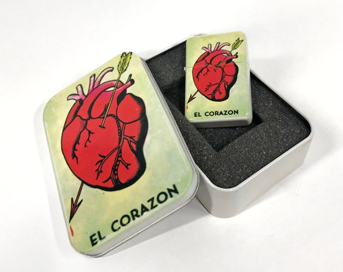 El Corazon Loteria flip lighter with metal box Sublimated Retro Cigar Gift for Him Groomsmen Bachelors Fathers Day