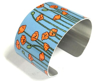 Cuff Bracelet POPPIES blue background, Poppy, Aluminum, Jewelry, Customizable, Sublimation, gift for friends